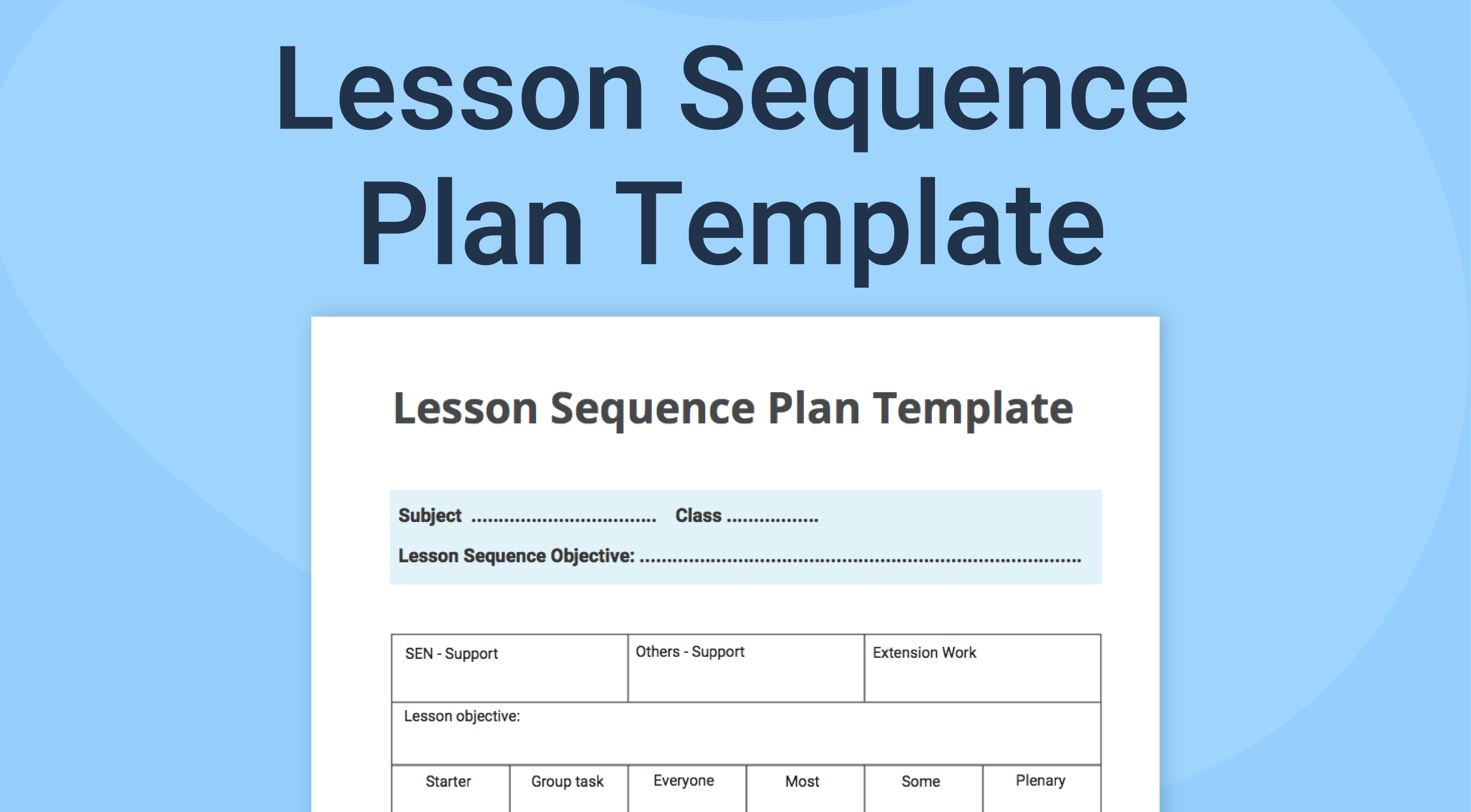 Lesson Sequence Template