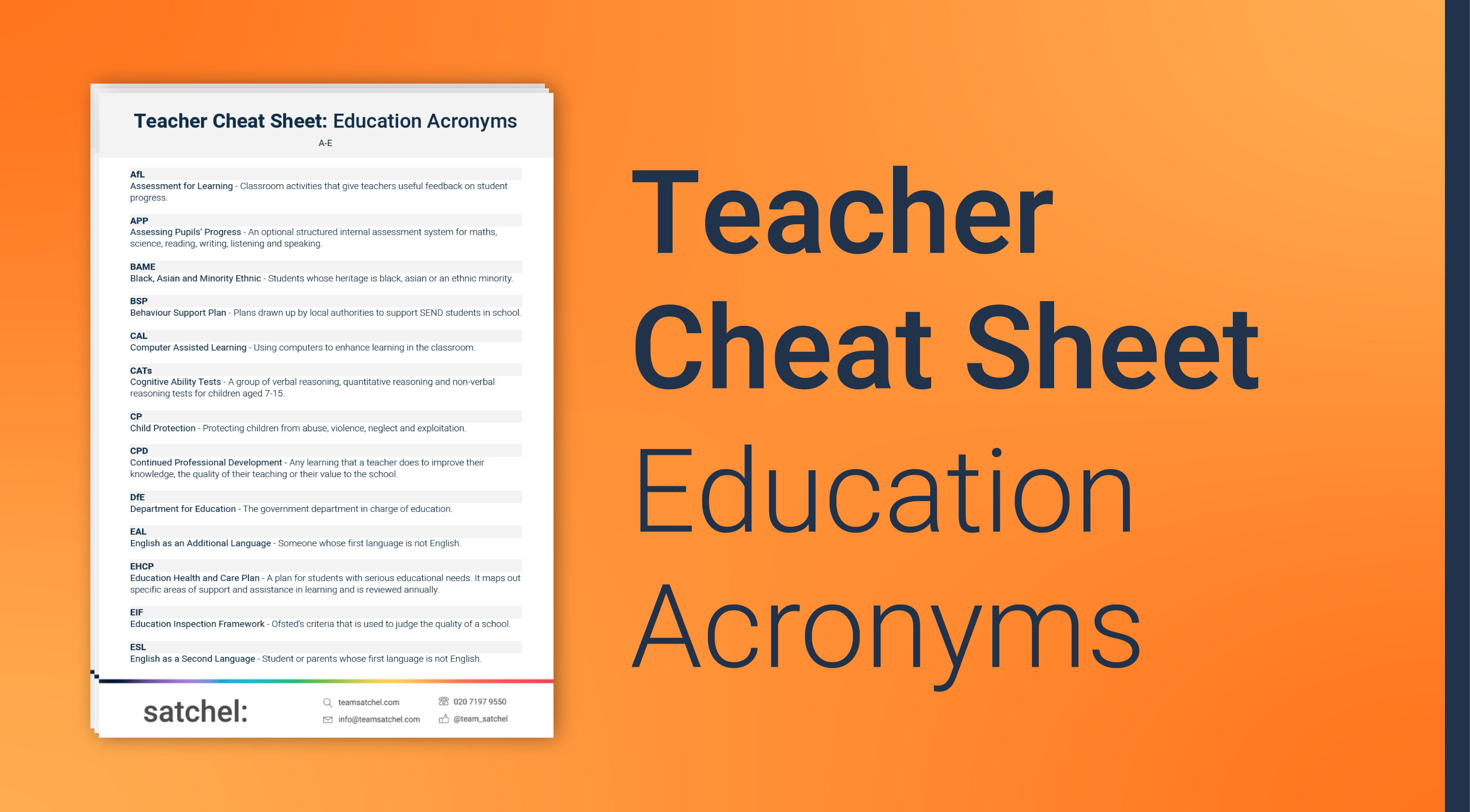 Teacher Education Acronyms Cheat Sheet